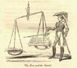 A cartoon from the time of Wellington putting his sword on the side of repression