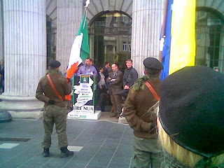 Fergal Moore delivering the oration at the GPO in Dublin on Easter Monday 2014.
