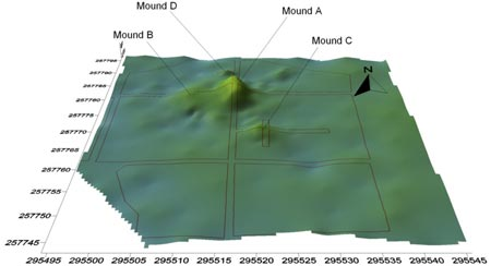 NRA topographical map of mounds