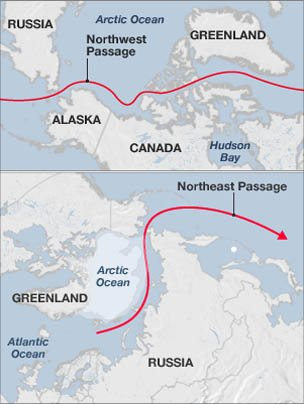 The two Arctic passages combine to form a route right around the regio