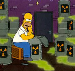 "Homer dealing wih nuclear waste - ""hmmm, shall we dump it in the Baltic Sea or West Africa?"""