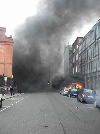 Burning Car in Nassau Street