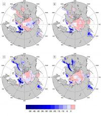 These maps show the differences in Arctic sea ice concentration relative to the long-term average for the winters of (A) 2007-2008, (B) 2008-2009, (C) 2010-2011 and (D) 2010-2011. The lowest levels of Arctic sea ice have been measured between 2007 and 201
