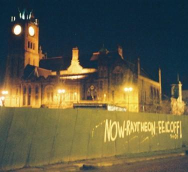 After the meeting; the message is clear (Guildhall in background)