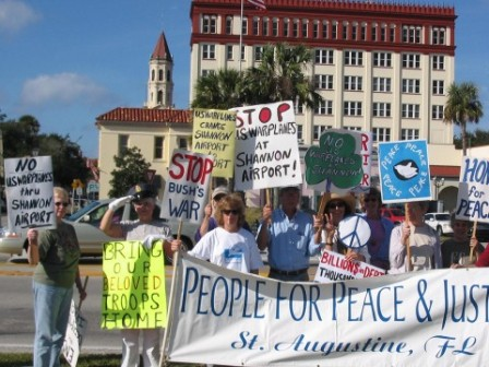 picture of peace demo in Florida against Shannon Warport