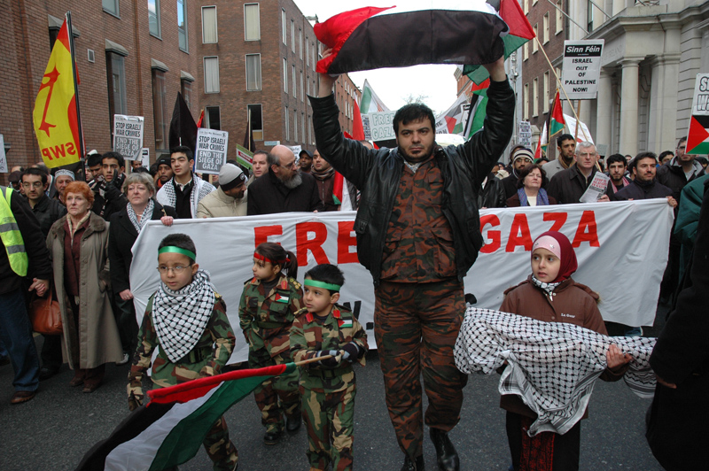 "A march in Dublin, 2009, supporting the people of Occupied Palestine organised and attended by most groups on the Irish Left where a statement of support from Michael D. Higgins was read out. The ""right type"" of armed struggle one presumes"