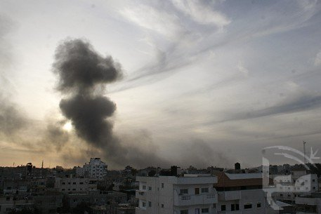 Smoke rising from an attacked building in Gaza