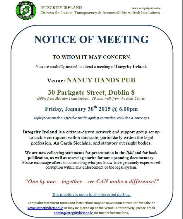 Notice of Meeting - Integrity Ireland - Dublin - Jan 30th ...