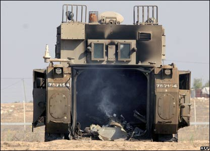 Israeli APC destroyed by Palestinian Commandos