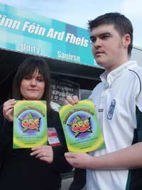 Barry McColgan and Andrea O'Kane of Ógra Shinn Féin release Suicide prevention campaign literature at the Sinn Féin Ard Fheis