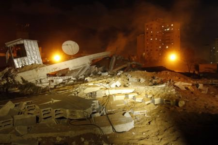Building destroyed by Israeli bomb in Gaza today