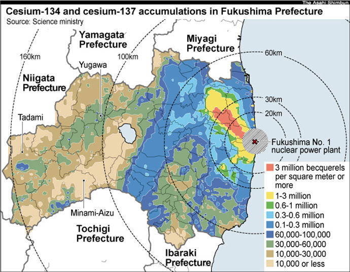Map Created By The Japan Science Ministry And U S Dept Of Energy Shows Over 800 Sq Km Contaminated With Aculated Cesium 137 Of
