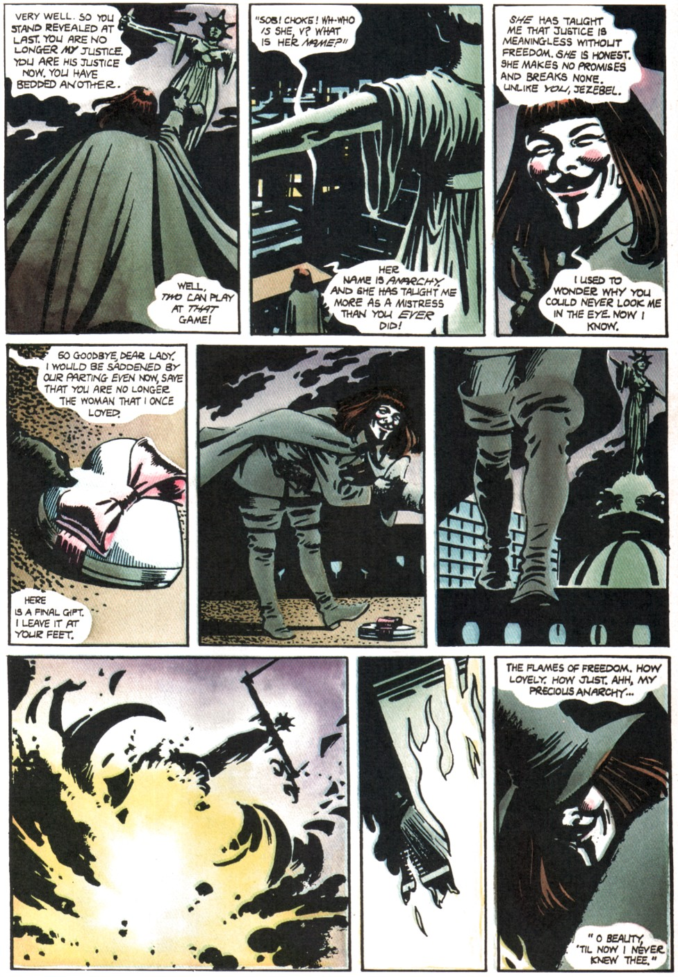 v for vendetta graphic novels I'm not at all familiar with the graphic novels,  from this v for vendetta wikipedia article, regarding the original graphic novel.