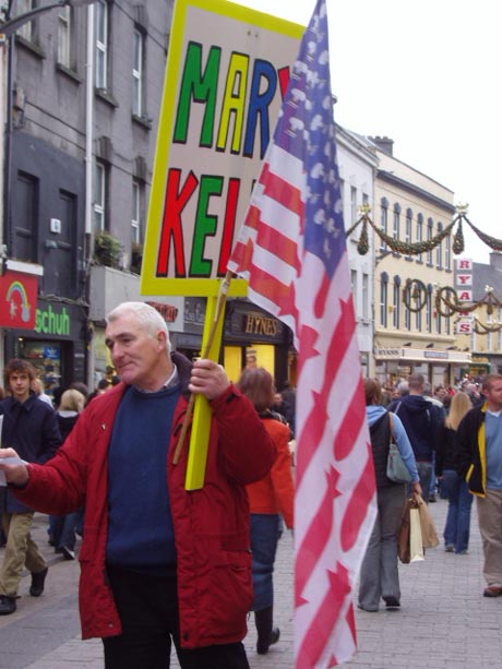 Banners Support Mary Kelly in Shop St., Galway