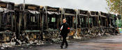 some of 27 buses burnt on the 9th night of Parisien rioting.