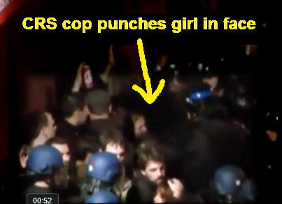 French CRS cop caught on camera viciously punching a girl in the face