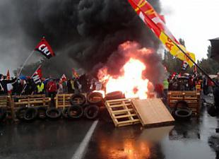 France in flames. Workers and students shut downt country on 4th day of strike against reforms