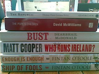 #OccupyGalway: donations of books on the disaster that is the Irish financial crisis from vinnie of charlie byrnes bookstore