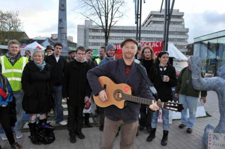 Billy Bragg with the gang at #occupycork