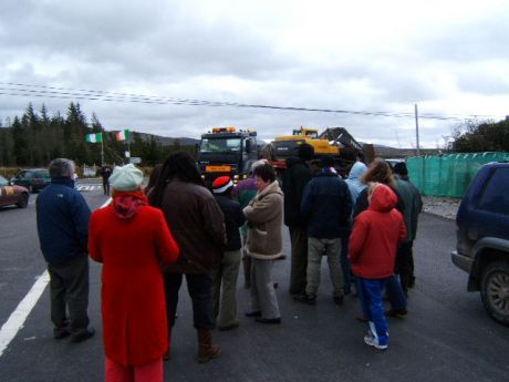 campaigners block the lorry