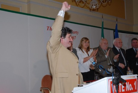 Workers Party Councillor John Halligan salutes the crowd