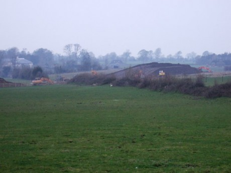 Digger marks on spoil heap