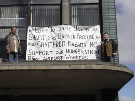 Belfast airport workers occupy Transport House seeking jusice