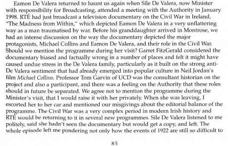 RTE and the Globalisation of Irish Television, page 85, on RTE's new historical consultant policy