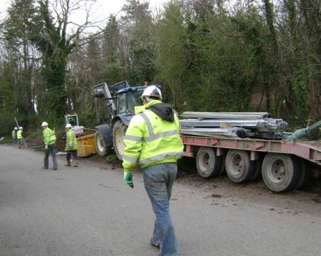 Fence poles arriving