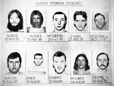 Ten of the twenty-two Irish men who died on hunger-strike between 1917 and 1981.
