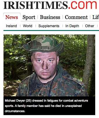 Micheal Dwer : gun loving normal Tip lad in wrong place or ultra right Jackel?