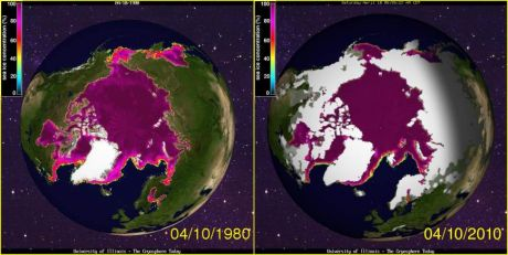Sea Ice side by side comparison with 30 years ago