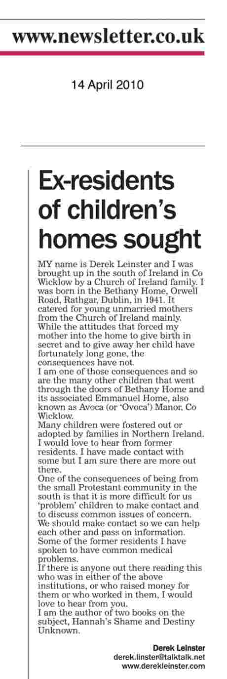 Derek Leinster seeks Northern ireland Bethany survivors (Newsletter 14 April 2010)