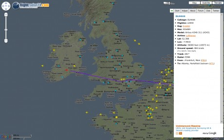 Radar of flights over Irish Airspace