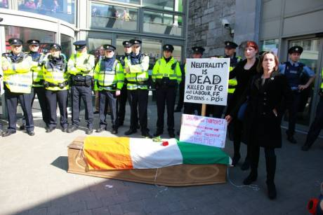 GAAW MEMBERS (IN BLACK!) OUTSIDE LABOUR CONFERENCE WITH IRISH NEUTRALITY'S COFFIN