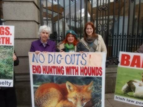 Maureen O' Sullivan TD, Bernie Wright, and Clare Daly TD at anti blood sports demo outside Dail