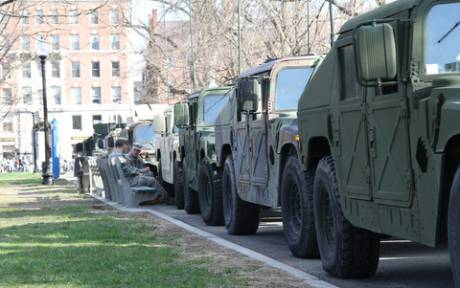Armored vehicles in downtown Boston [Photo: Jeff Cutler]