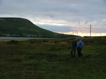 Keith from Donegal shows Philip from Irish Cattle & Sheepfarmers Association around campsite.