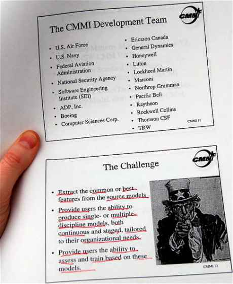 Example document:  part of a presentation on CMMI  - a US military software development standard.