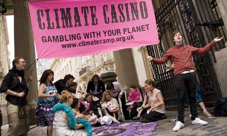 CLIMATE CAMP LONDON first action: Climate Change Casino outside carbon trading exchange