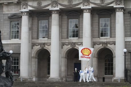 Shell Flag Planted at Dept of Environment