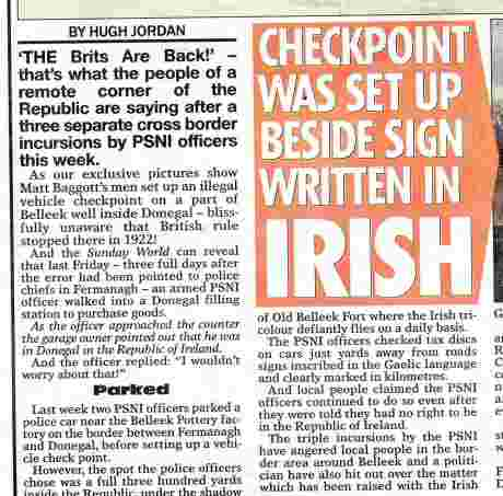 Newspaper coverage of previous PSNI incursions at the same location