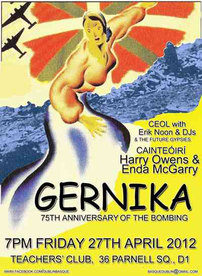 Poster for Dublin commemoration of Gernika bombing, attended by Arturo (Benat).