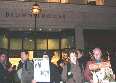 Outside Brown Thomas which still sells fur