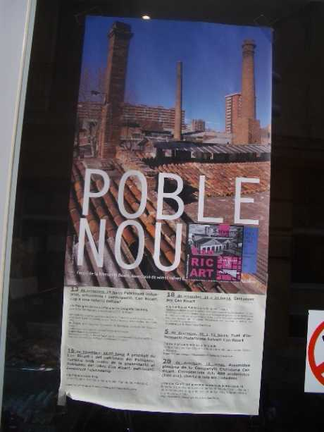save can ricart and Pueble nou poster on shop door