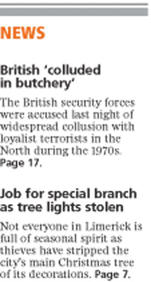 Buried in hard copy, censored from soft copy - Irish Independent on British state terrorism