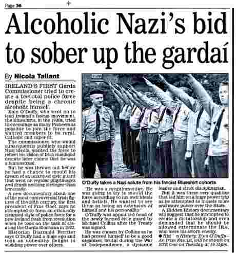 Mail story on Fine Gael and Blueshirt founder, and first Garda Commissioner, Eoin O'Duffy