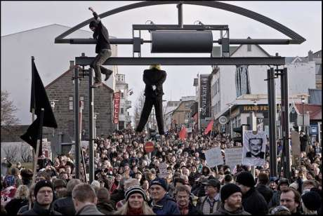 A Capitalist doll was hung at a recent protest in Iceland