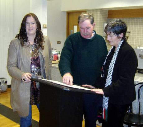 Colette Nic Aodha, poet, with poet Seosaimh O Guairim and Cllr. Catherine Connolly, who launched the book