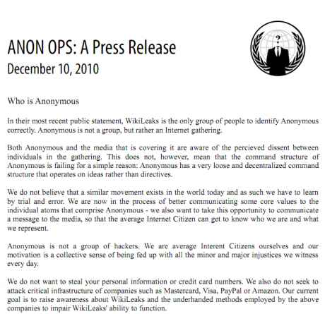 ANON OPS - Press Release